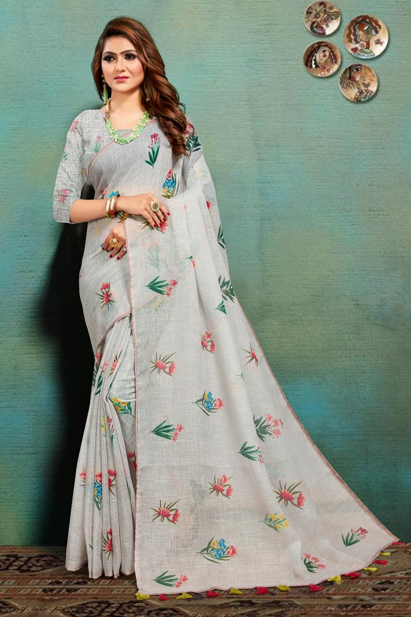 Office Wear Cream Color Fancy Art Silk Fabric Printed Saree