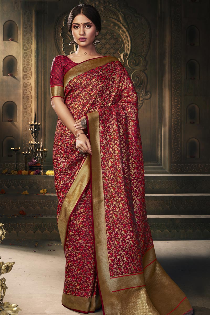 Art Silk Fabric Classy Puja Wear Maroon Color Weaving Work Saree