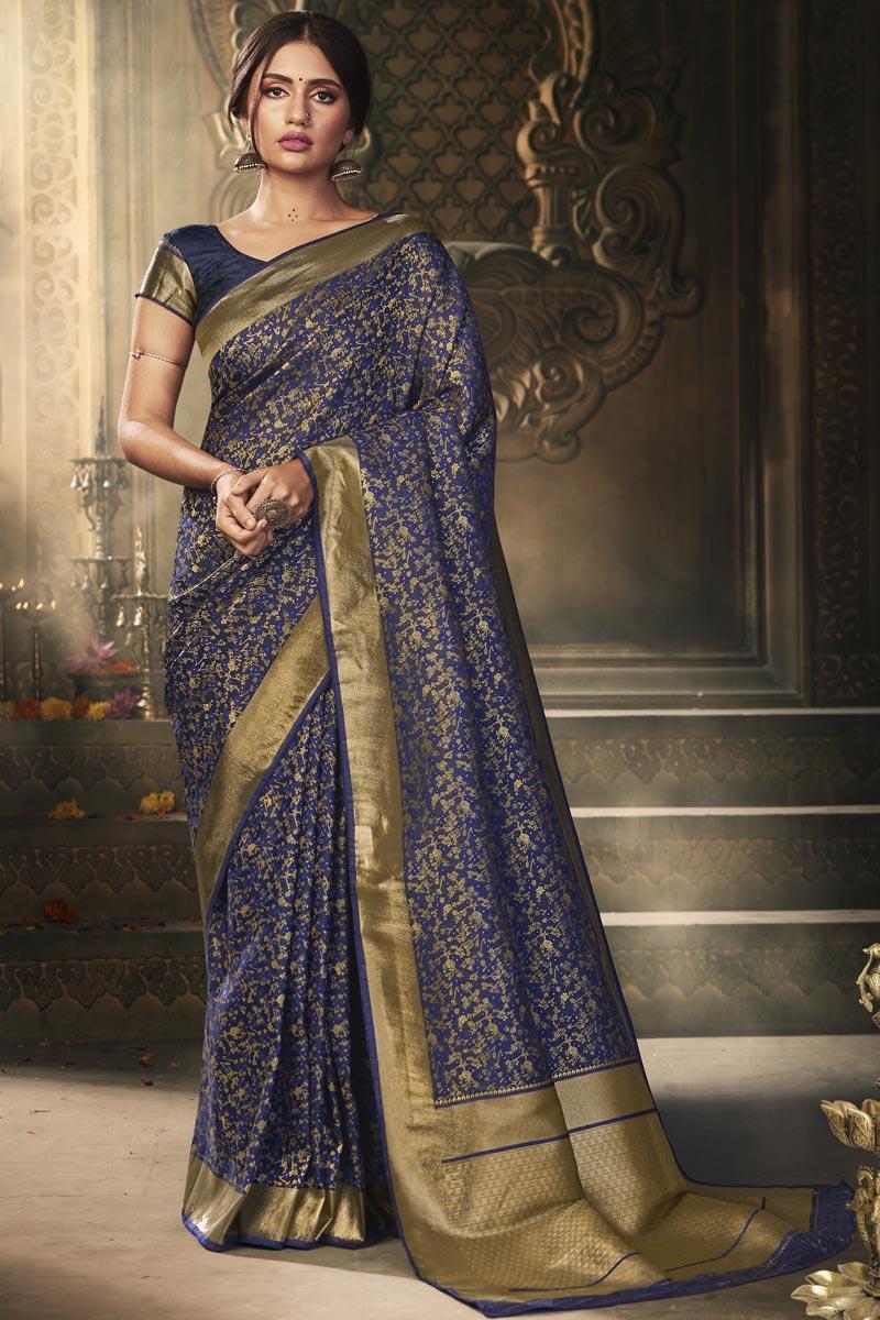 Puja Wear Art Silk Fabric Classy Weaving Work Saree In Navy Blue Color