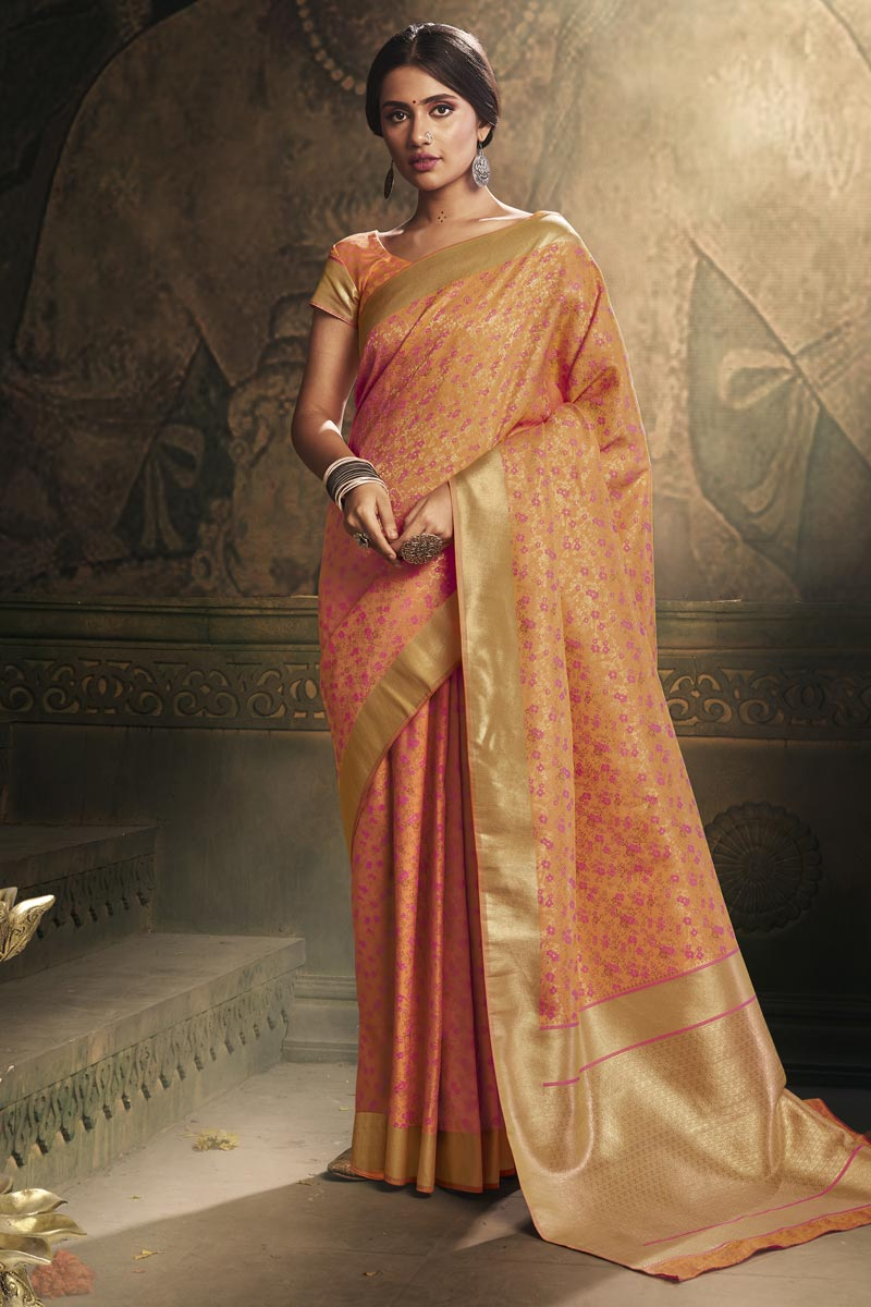 Art Silk Fabric Classy Puja Wear Orange Color Weaving Work Saree