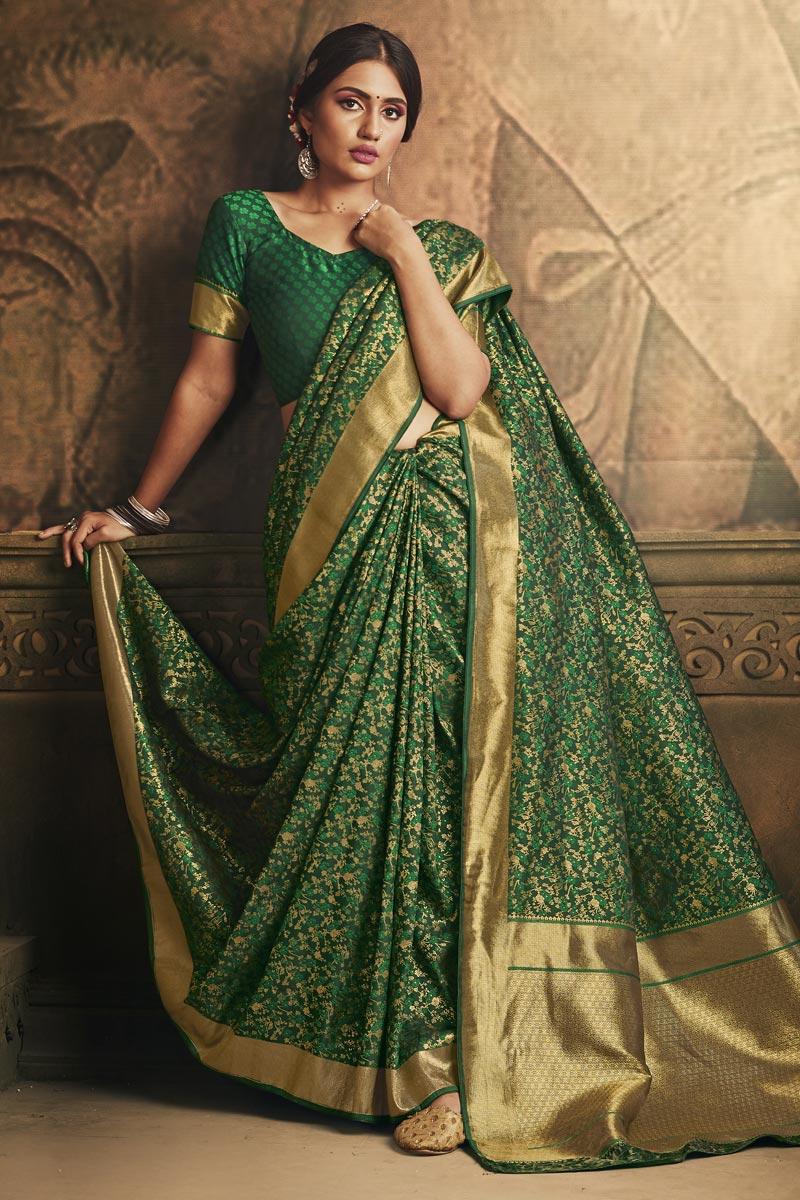 Puja Wear Green Color Classy Art Silk Fabric Weaving Work Saree