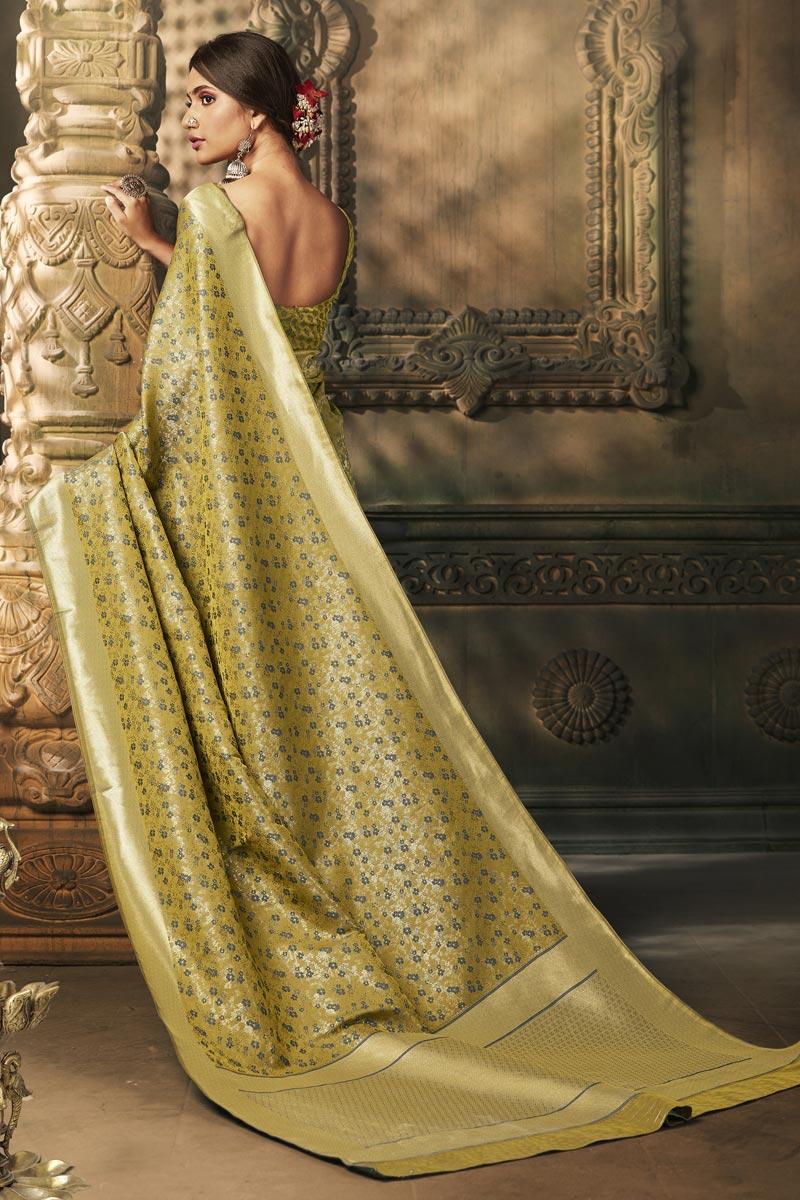Yellow Color Puja Wear Classy Weaving Work Saree In Art Silk Fabric
