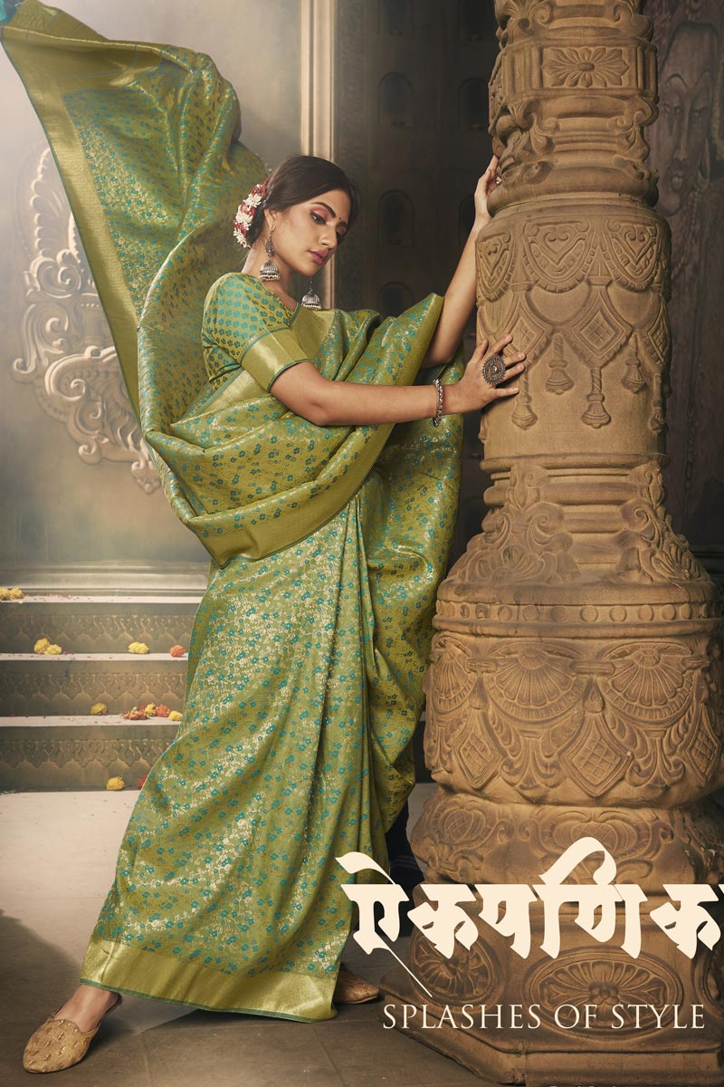 Puja Wear Art Silk Fabric Classy Weaving Work Saree In Sea Green Color