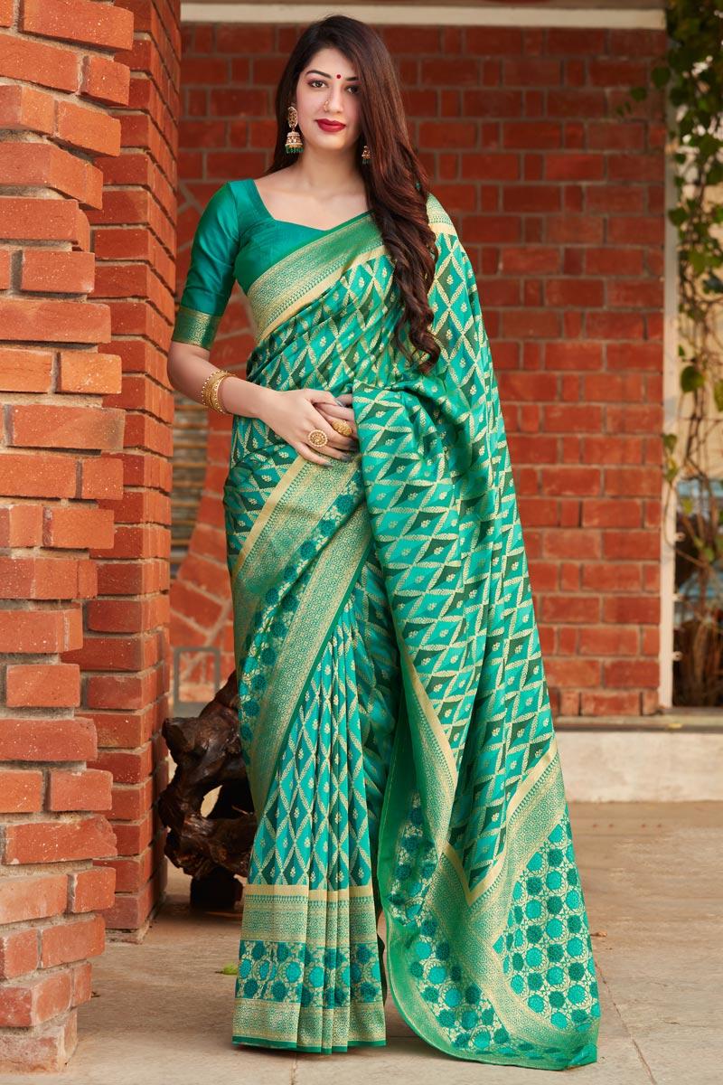 Green Color Party Wear Art Silk Trendy Weaving Work Saree