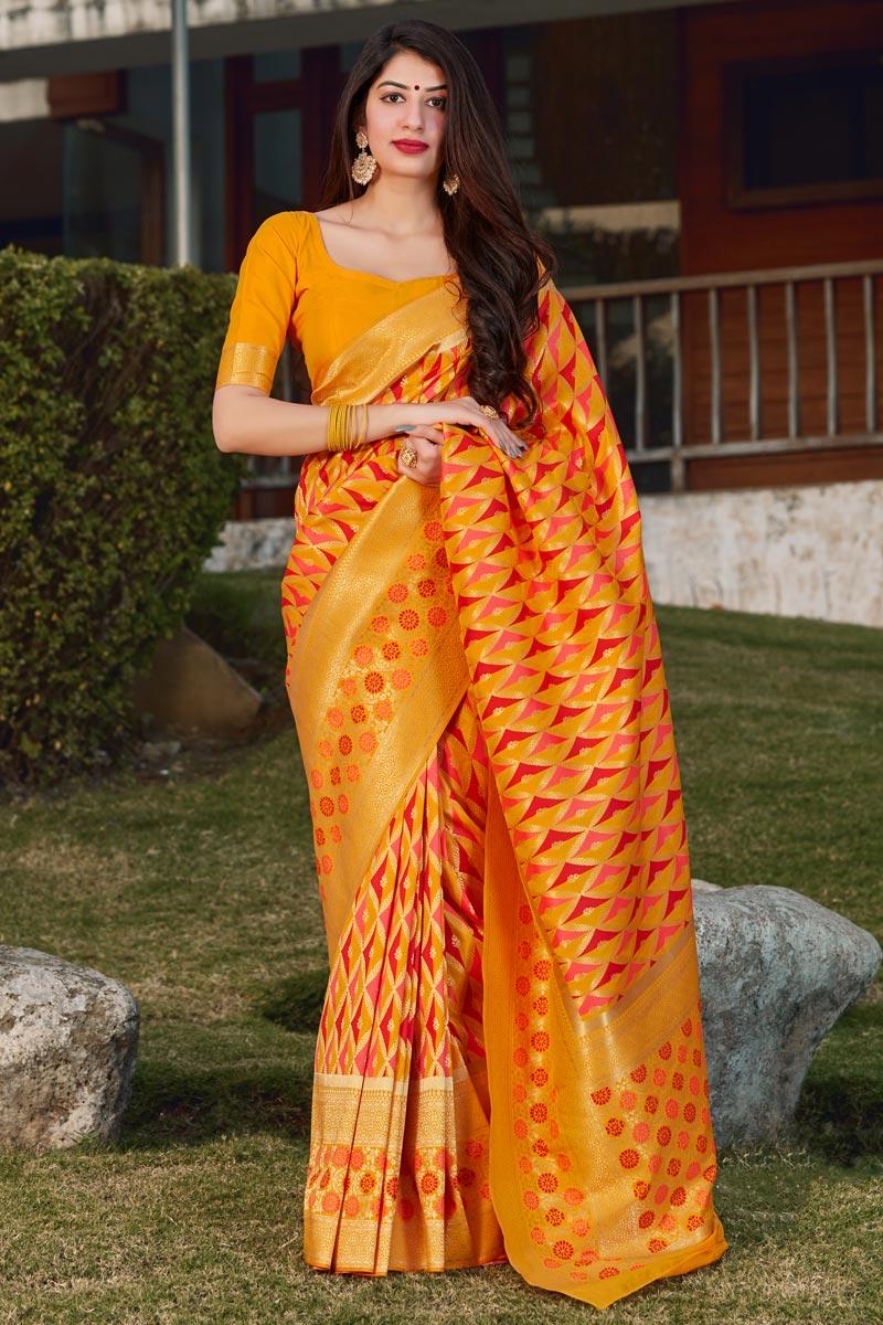 Art Silk Party Wear Trendy Orange Color Weaving Work Saree