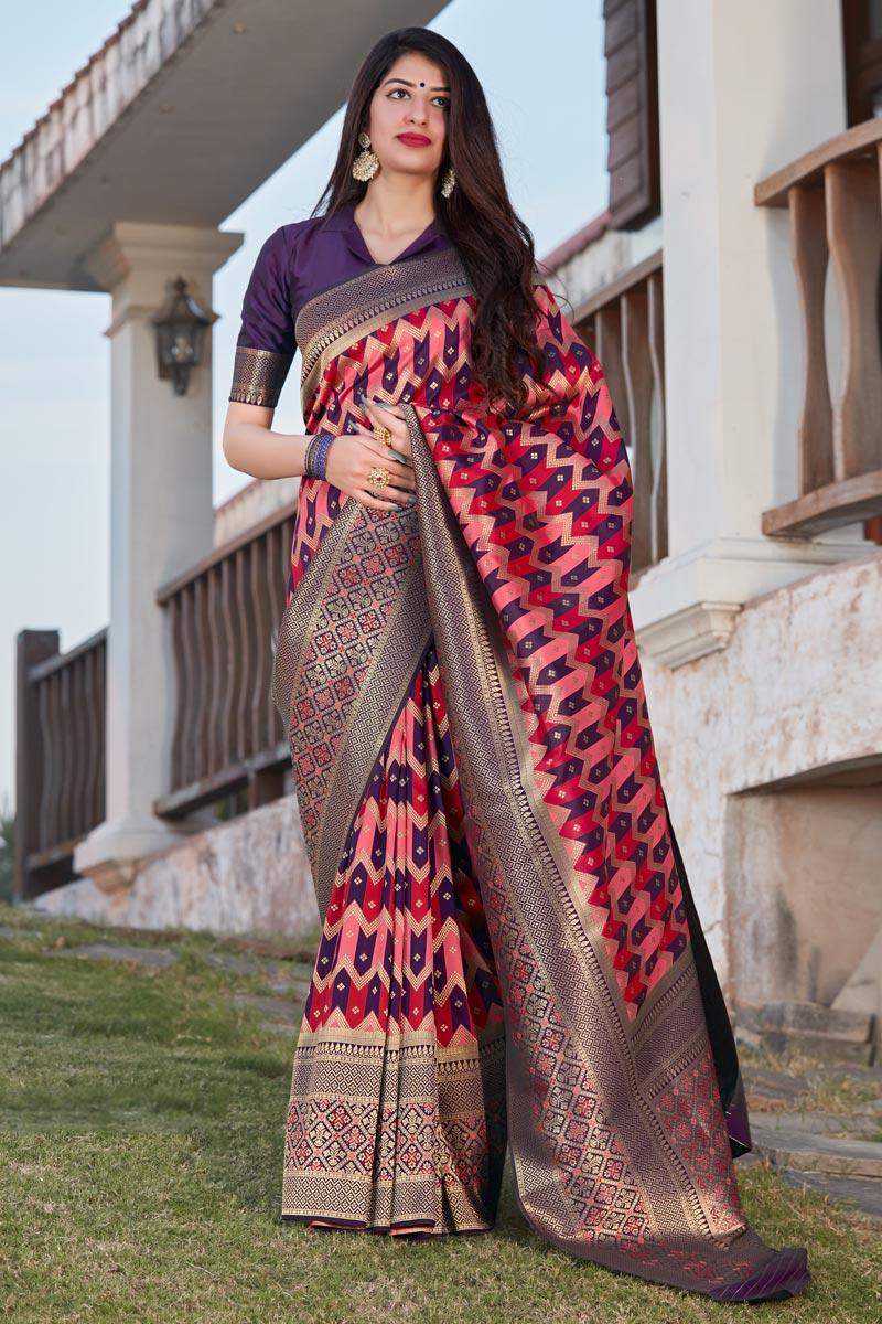 Party Wear Purple Color Trendy Art Silk Weaving Work Saree