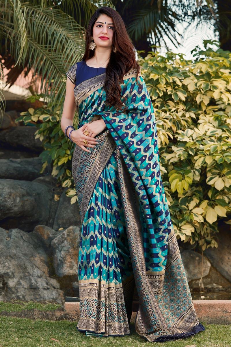Party Wear Art Silk Trendy Weaving Work Saree In Cyan Color