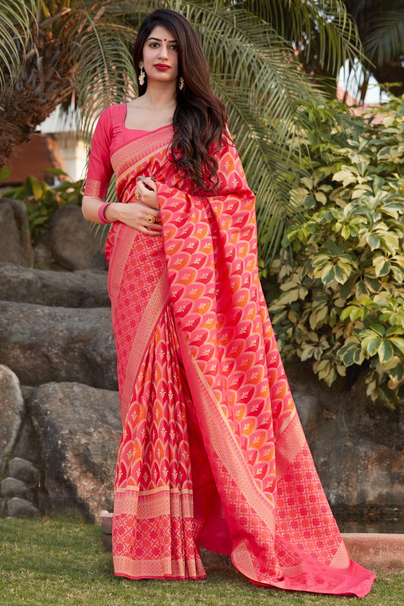 Pink Color Party Wear Trendy Art Silk Weaving Work Saree