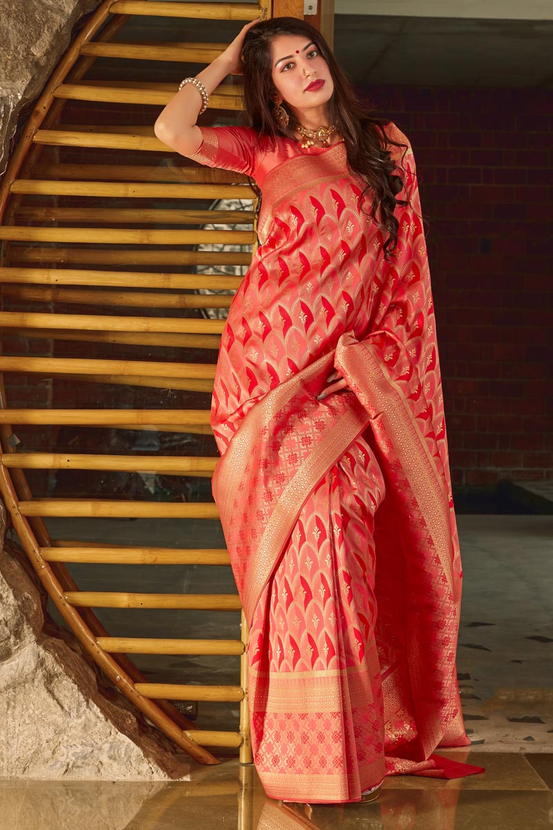 Art Silk Trendy Party Wear Red Color Weaving Work Saree