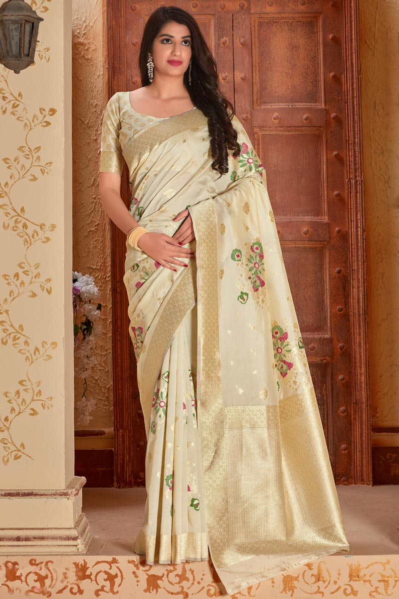 Art Silk Fabric Party Style Classic Beige Color Weaving Work Saree
