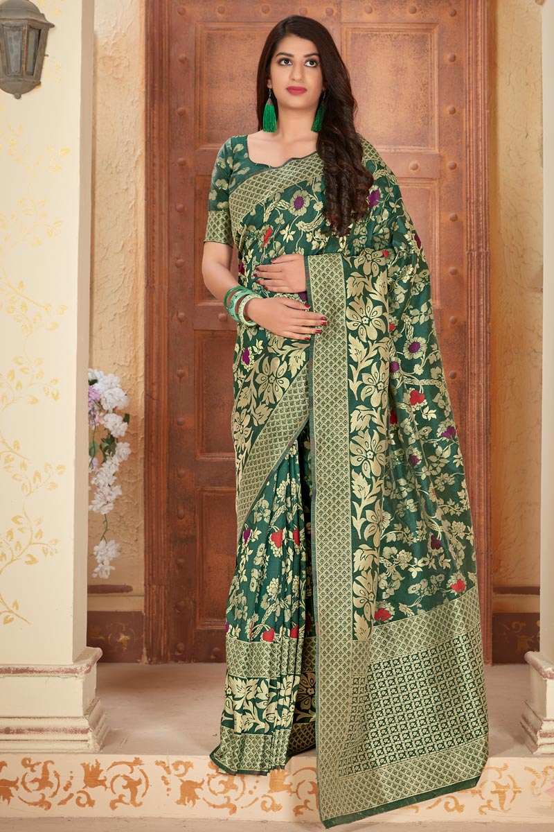 Dark Green Color Party Style Art Silk Fabric Classic Weaving Work Saree