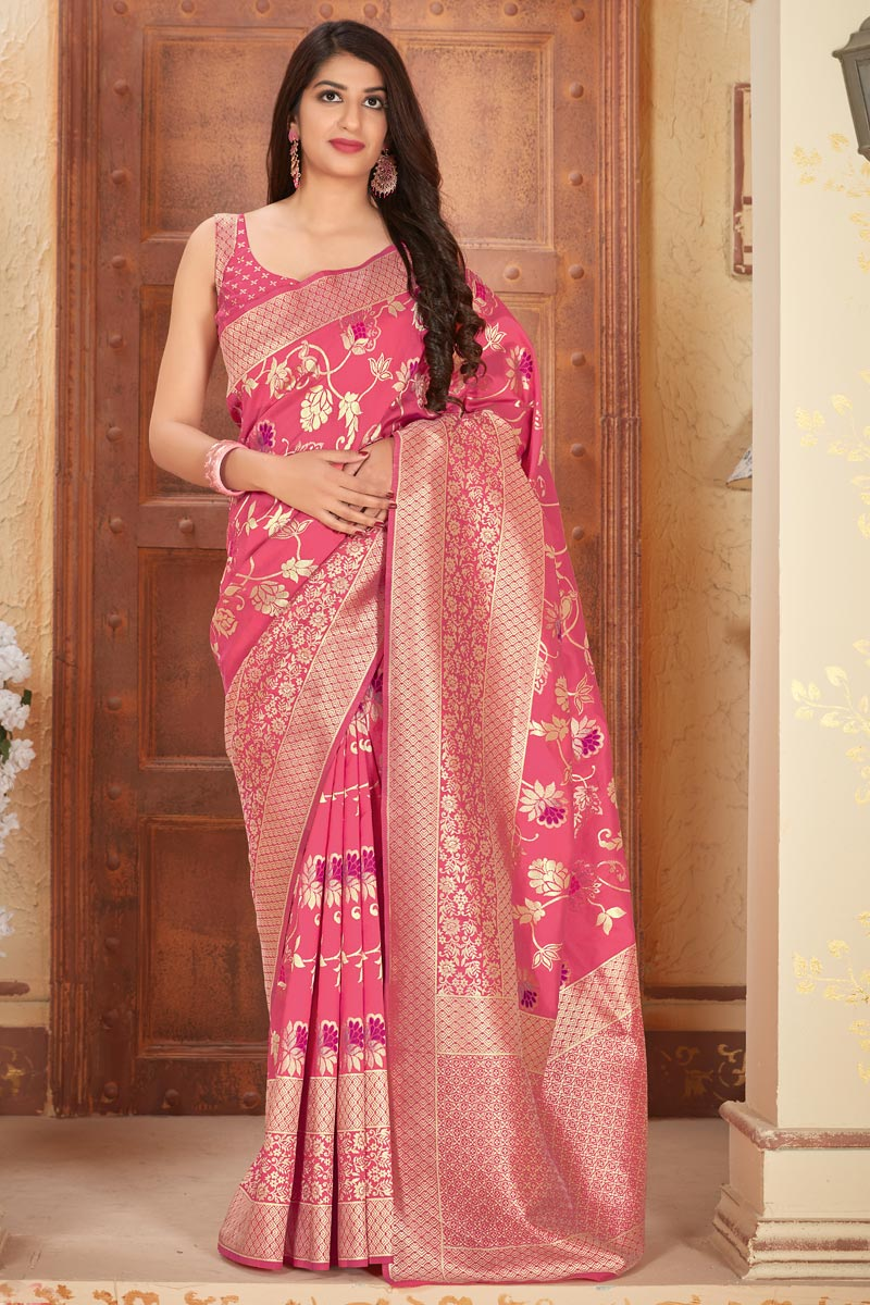 Party Style Art Silk Fabric Classic Weaving Work Saree In Pink Color