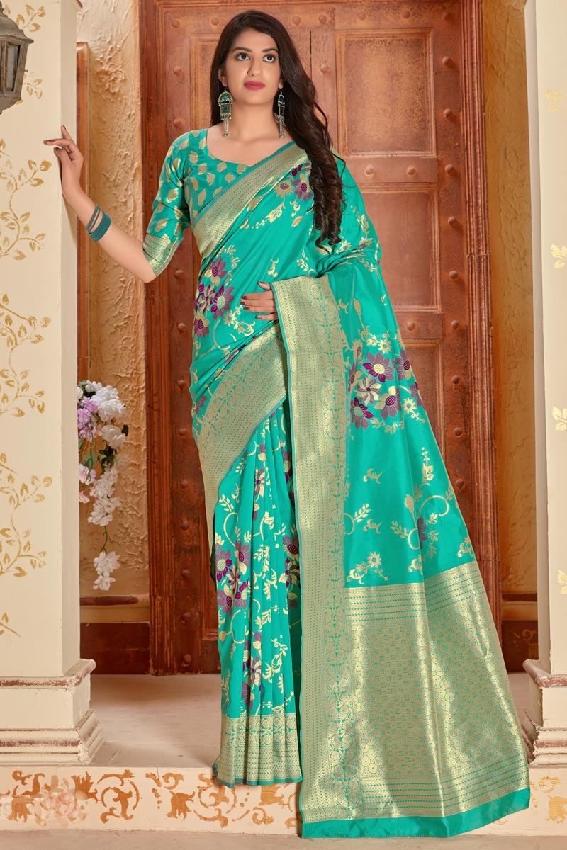Cyan Color Party Style Classic Art Silk Fabric Weaving Work Saree
