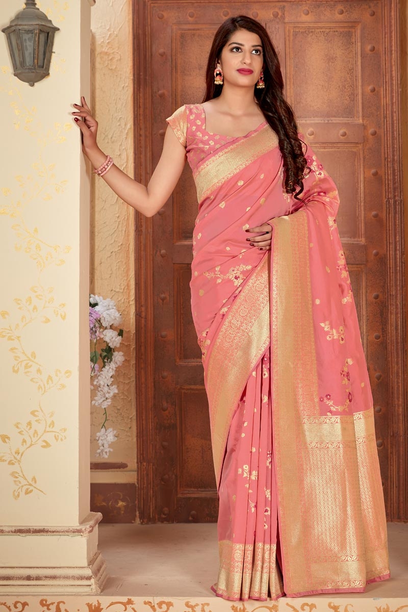 Party Style Art Silk Fabric Classic Weaving Work Saree In Peach Color