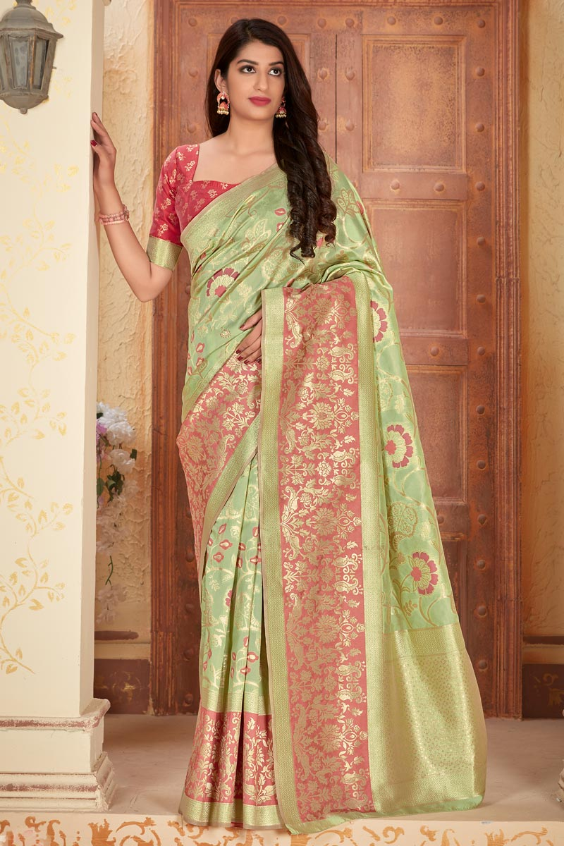 Sea Green Color Party Style Art Silk Fabric Classic Weaving Work Saree