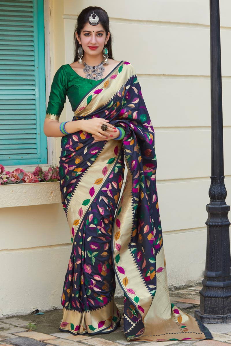 Art Silk Fabric Classy Function Wear Navy Blue Weaving Work Saree