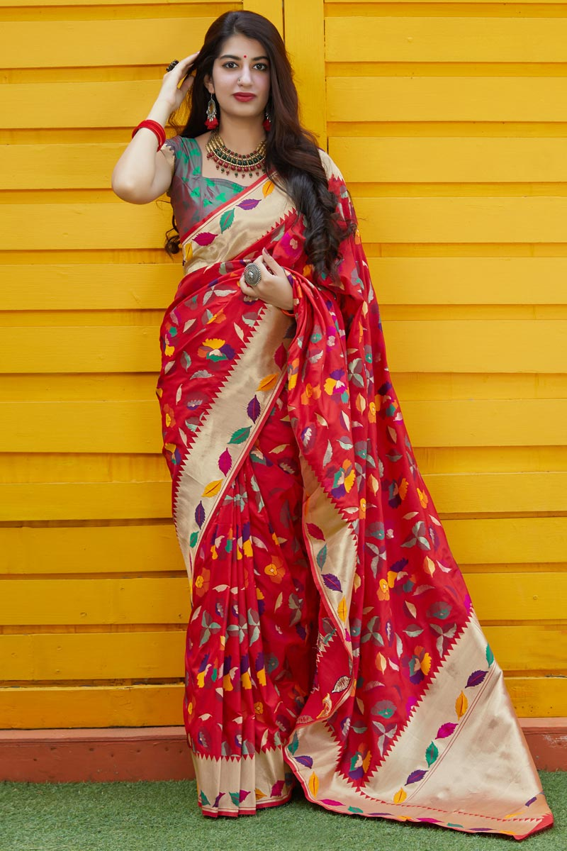 Red Function Wear Art Silk Fabric Classy Weaving Work Saree