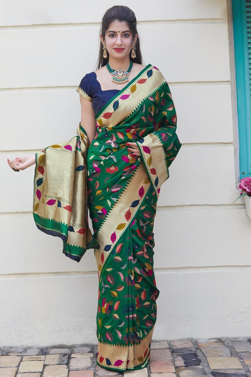 Art Silk Fabric Function Wear Classy Dark Green Weaving Work Saree