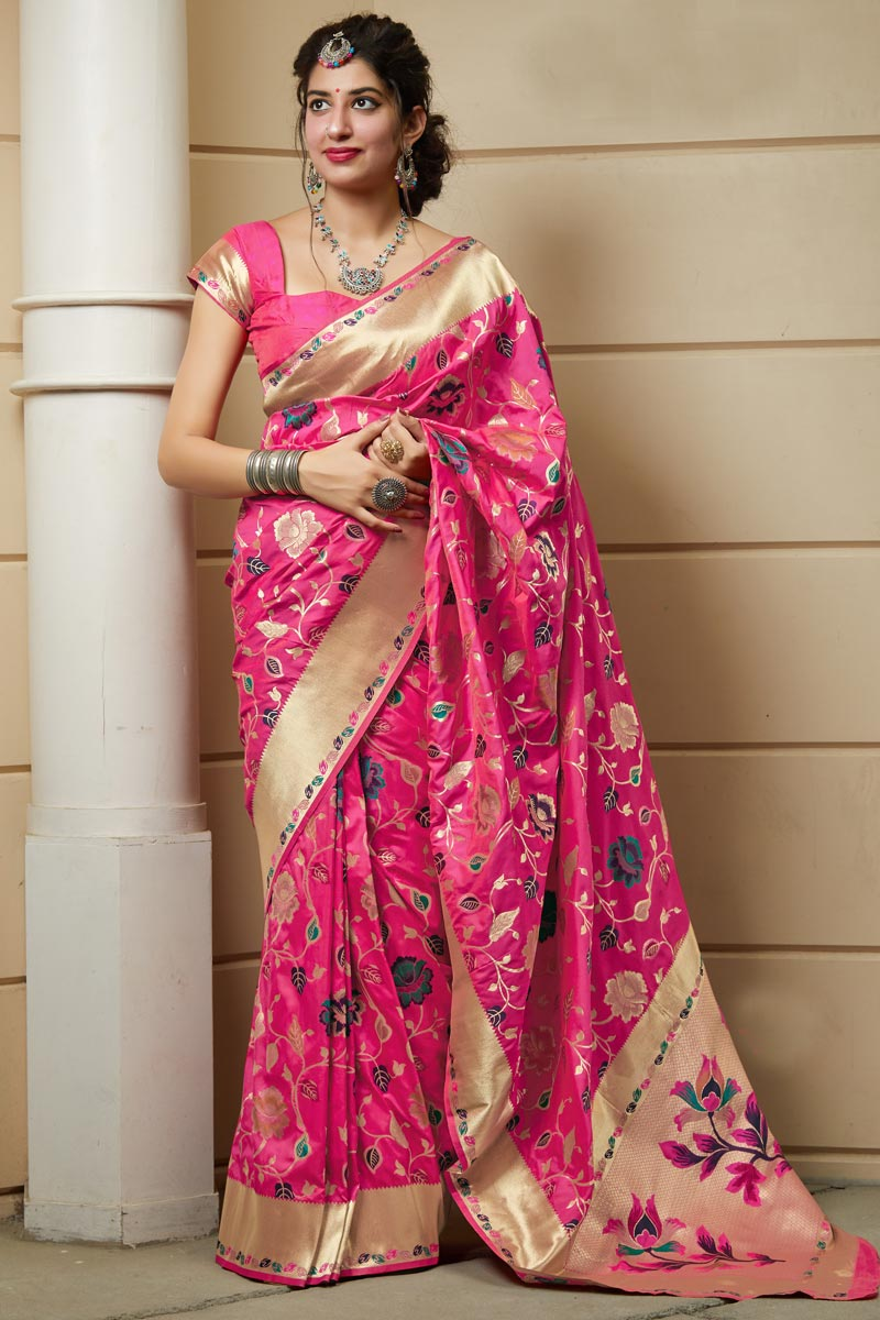 Rani Color Function Wear Classy Art Silk Fabric Weaving Work Saree