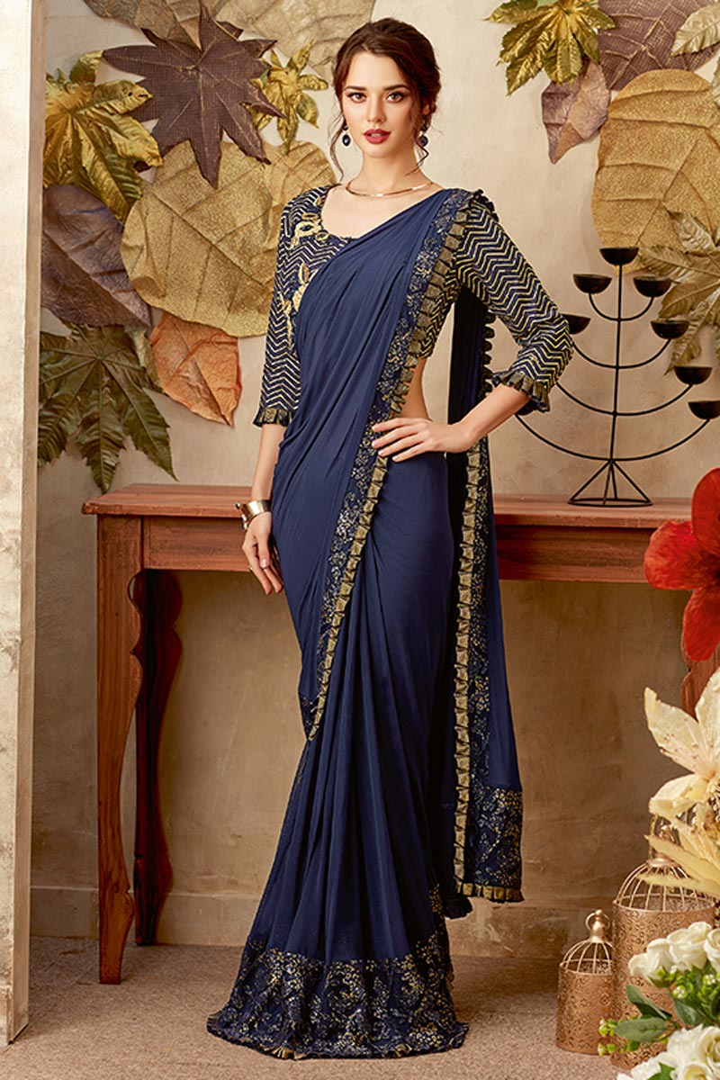 Navy Blue Fancy Fabric Reception Wear Indowestern One Minute Fusion Saree With Work
