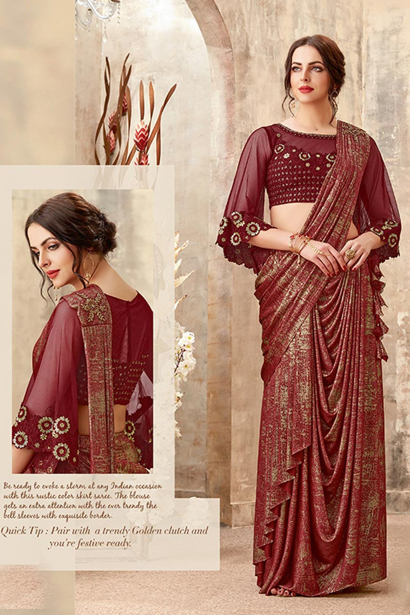Embroidery Work On Reception Wear Indowestern One Minute Fusion Saree In Maroon Fancy Fabric