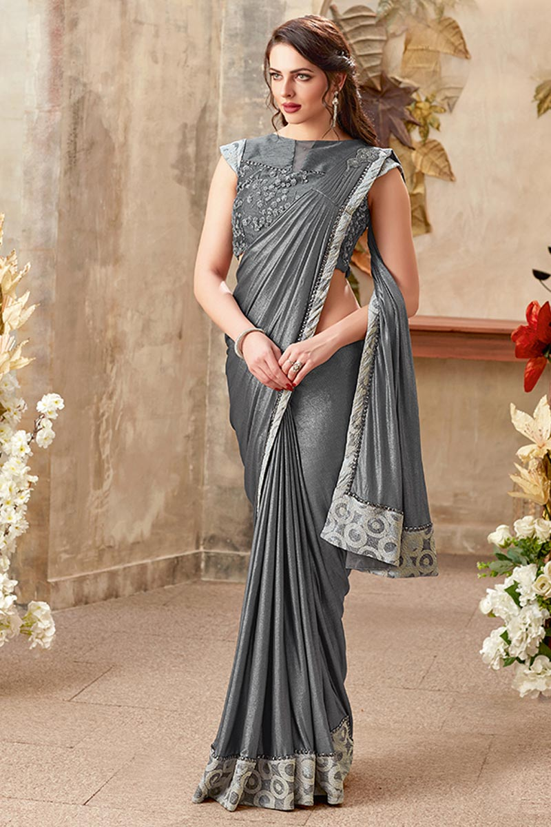 Embroidery Work On Grey Fancy Fabric Designer Indowestern One Minute Fusion Saree