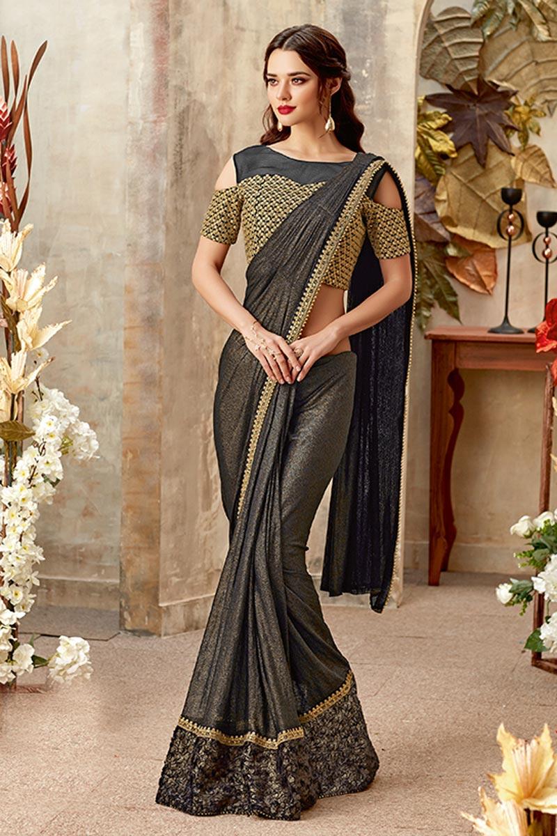 Sangeet Wear Dark Brown Indowestern One Minute Fusion Saree In Fancy Fabric With Work