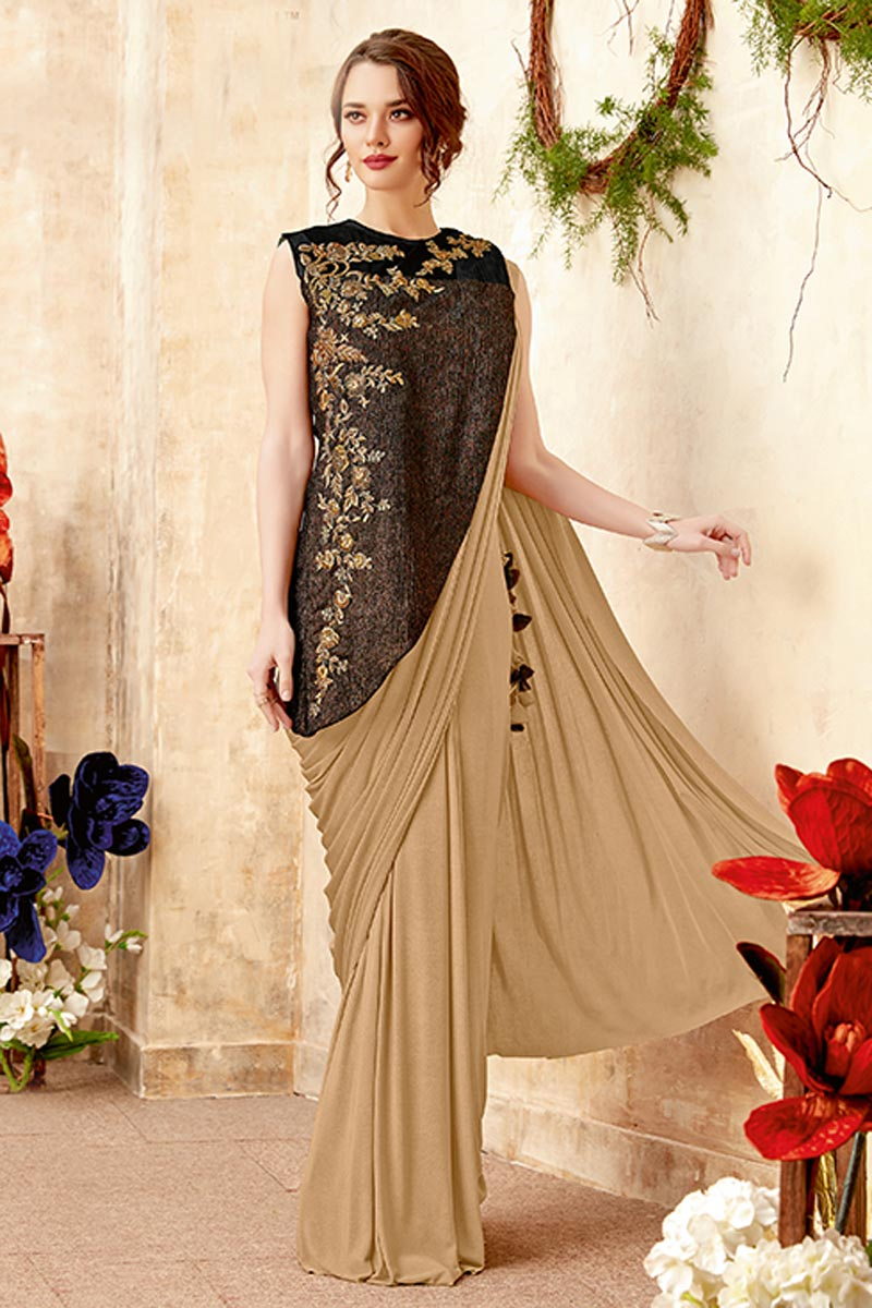 Fancy Fabric Party Wear Embroidered Indowestern Style One Minute Fusion Saree In Cream