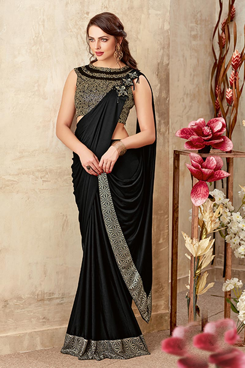 Designer Indowestern One Minute Fusion Saree In Black Fancy Fabric With Work