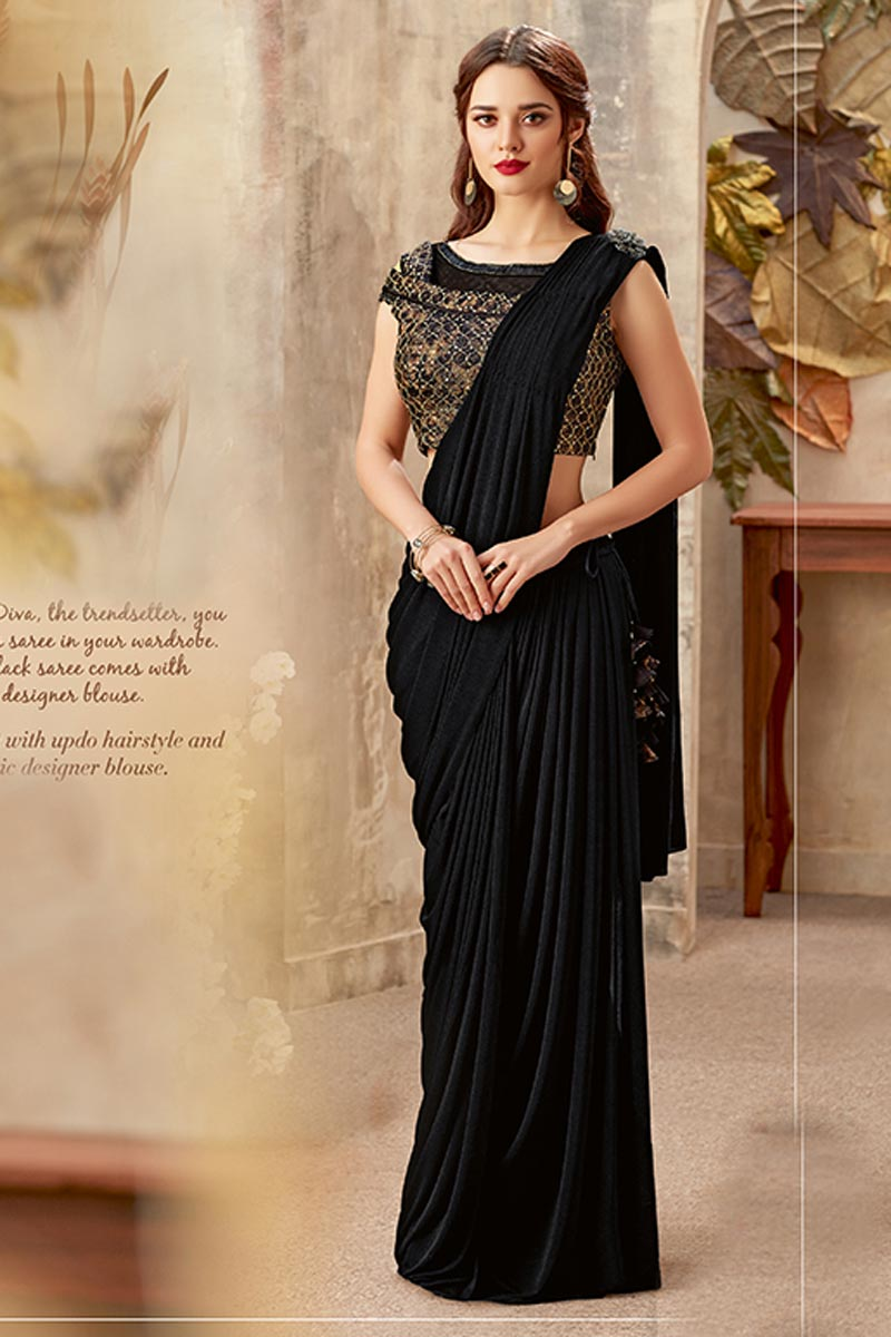 Wedding Wear Indowestern One Minute Fusion Fancy Fabric Saree In Black With Work