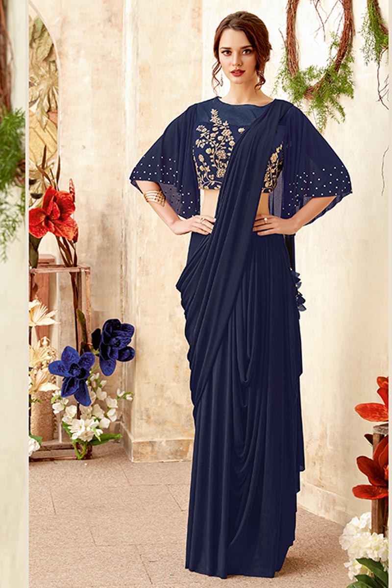 Wedding Function Wear Fancy Fabric Navy Blue Embroidered Indowestern One Minute Fusion Saree