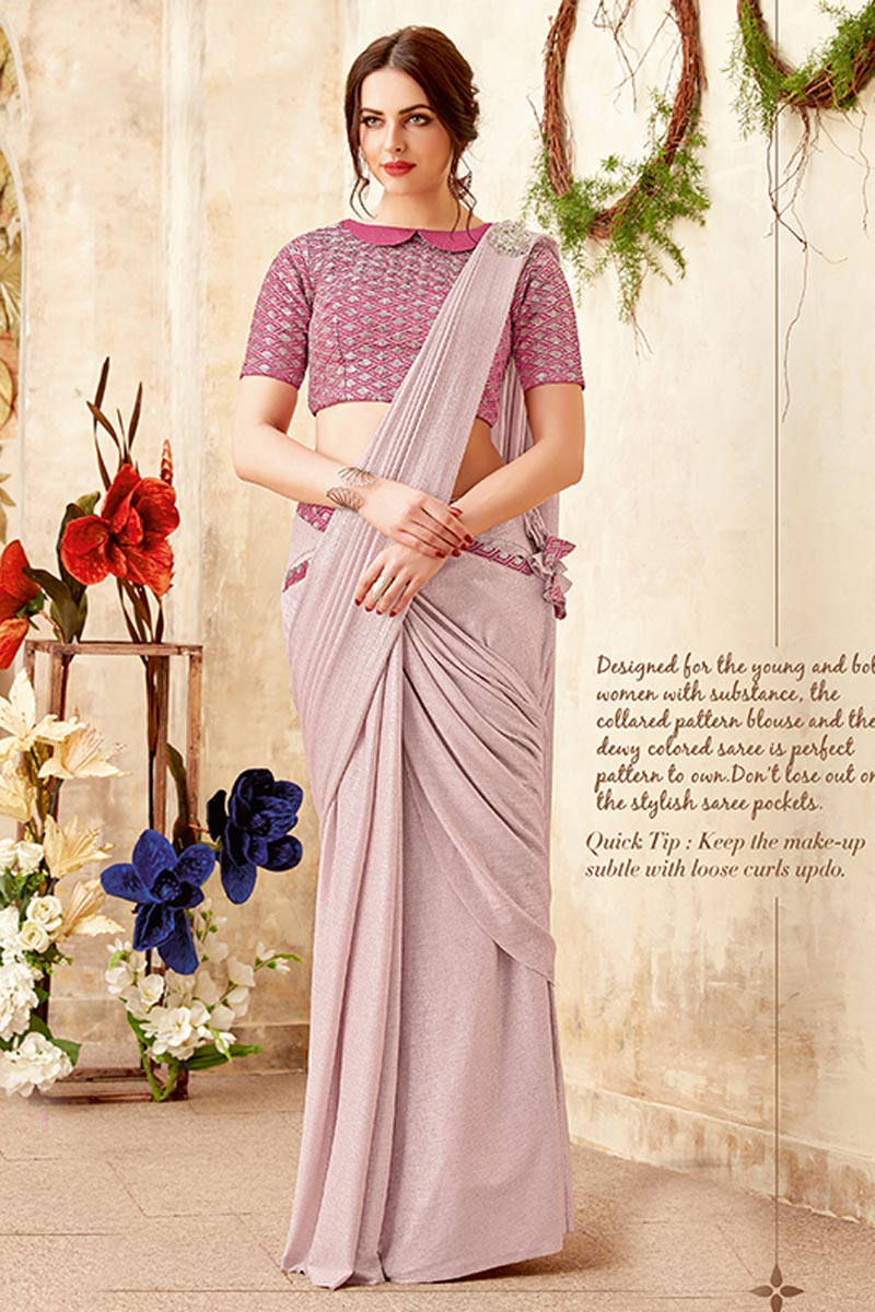 Function Wear Designer Fancy Fabric Light Lavender Embellished Indowestern One Minute Fusion Saree