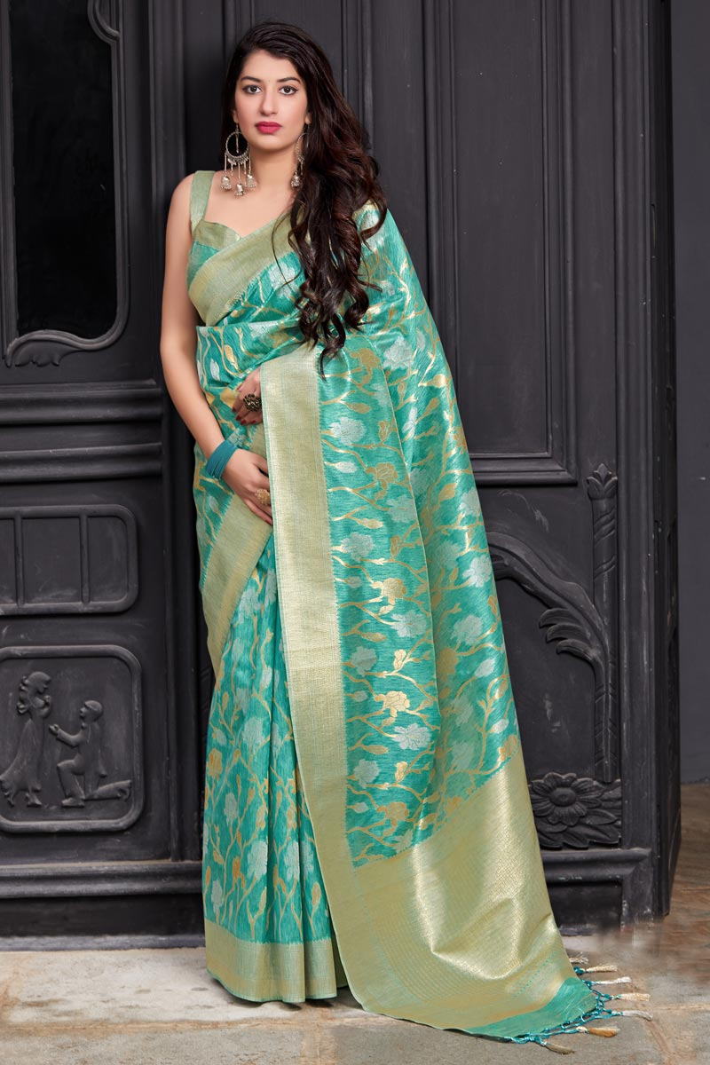 Banarasi Silk Designer Sangeet Wear Cyan Weaving Work Saree