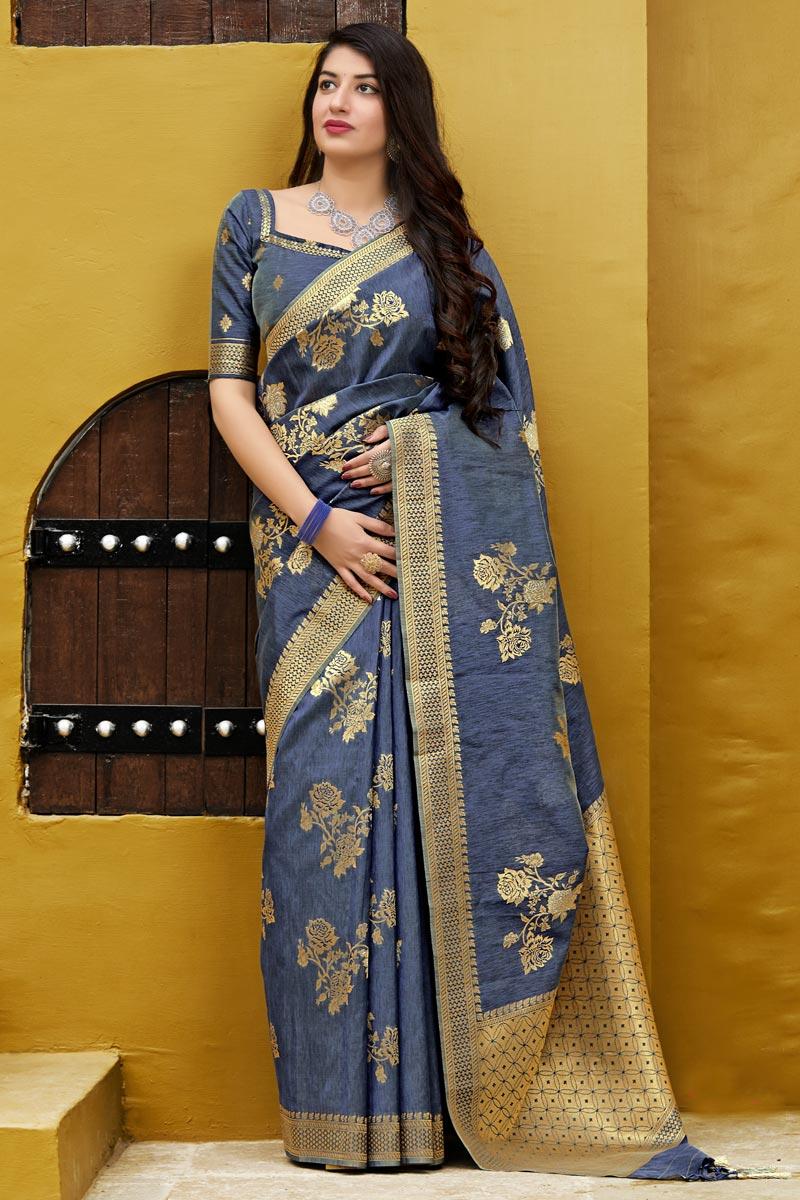 Eid Special Banarasi Silk Designer Sangeet Wear Navy Blue Weaving Work Saree