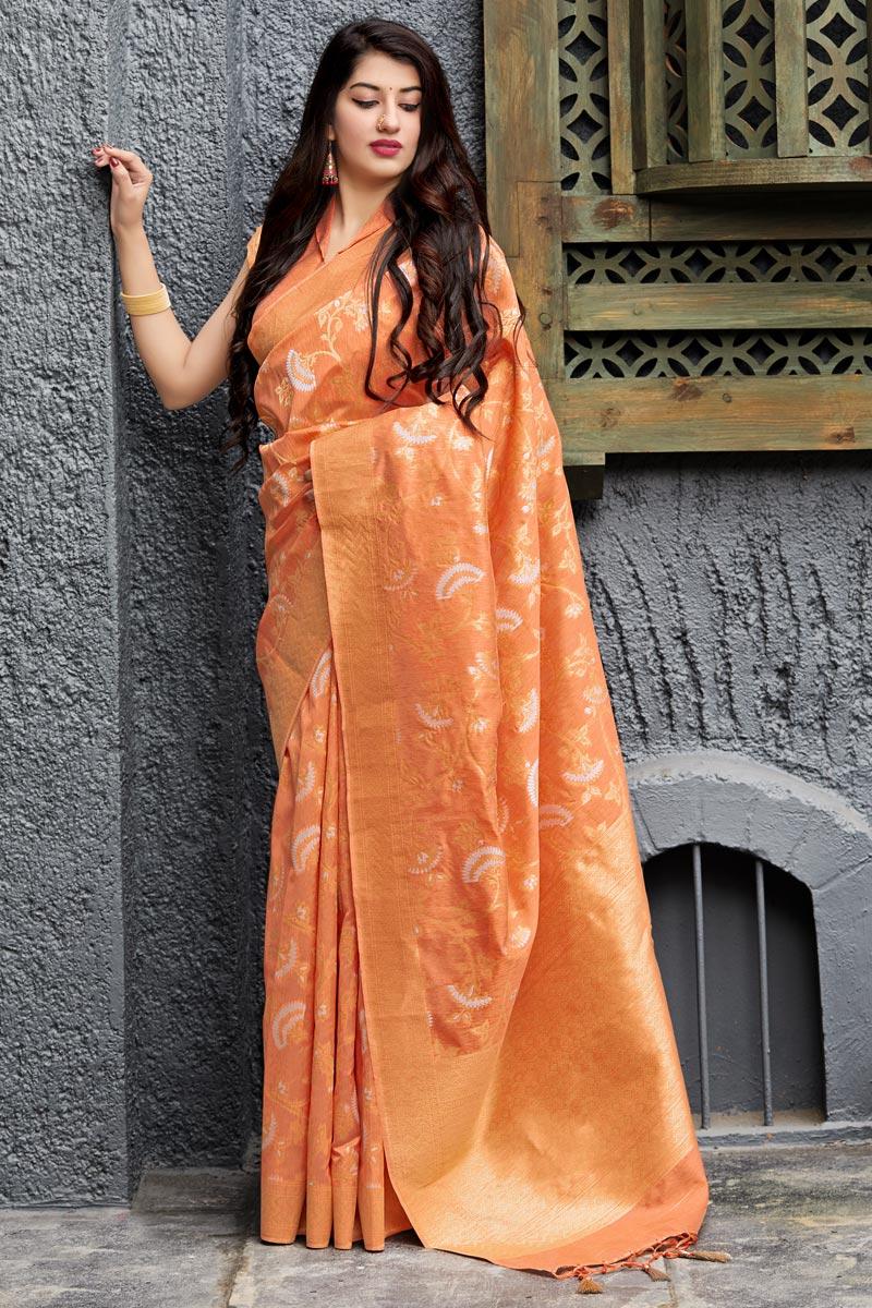Eid Special Designer Orange Banarasi Silk Sangeet Wear Weaving Work Saree