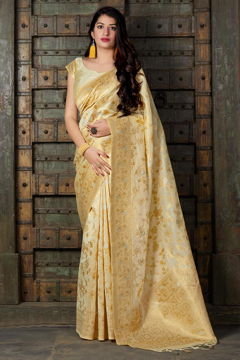 Eid Special Sangeet Wear Designer Beige Weaving Work Saree In Banarasi Silk