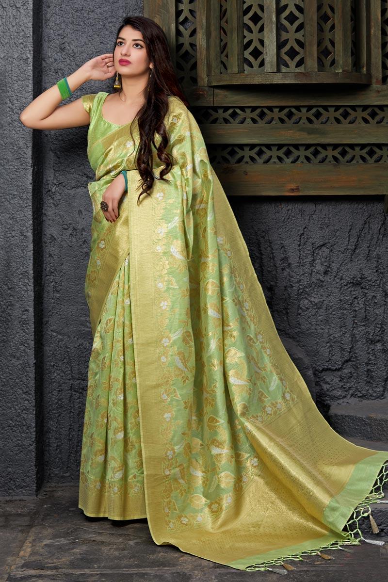 Designer Sangeet Wear Sea Green Banarasi Silk Weaving Work Saree