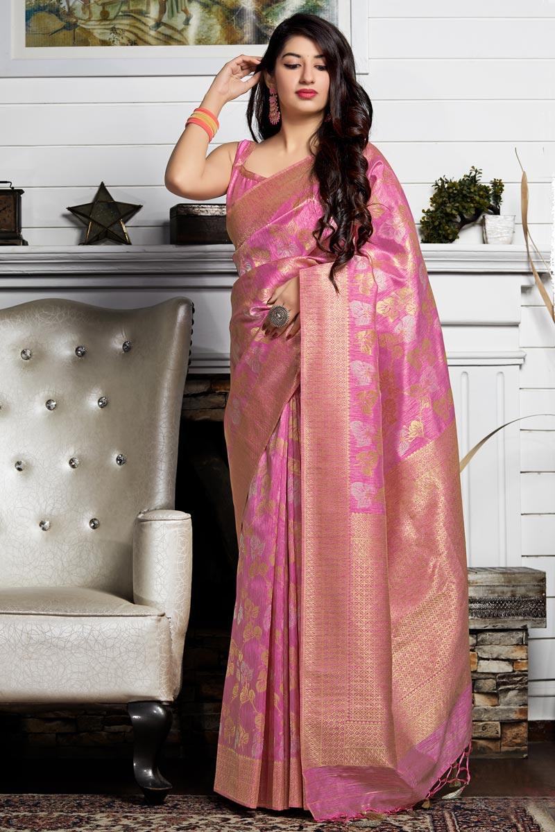 Eid Special Designer Sangeet Wear Pink Banarasi Silk Weaving Work Saree