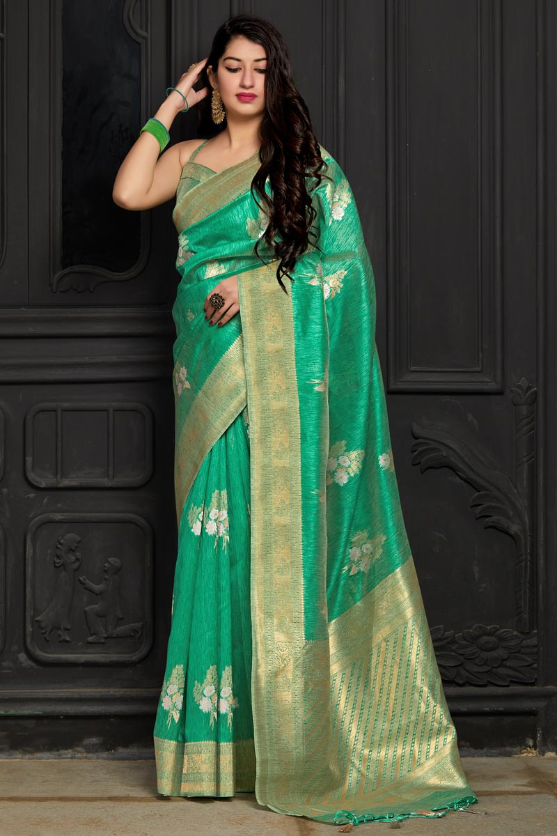 Eid Special Green Designer Sangeet Wear Banarasi Silk Weaving Work Saree
