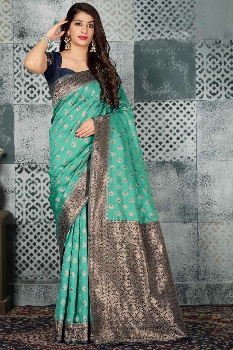 Fancy Traditional Wear Art Silk Fabric Cyan Weaving Work Saree