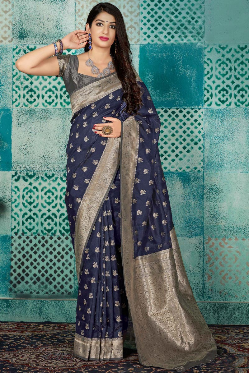 Art Silk Fabric Fancy Traditional Wear Navy Blue Weaving Work Saree