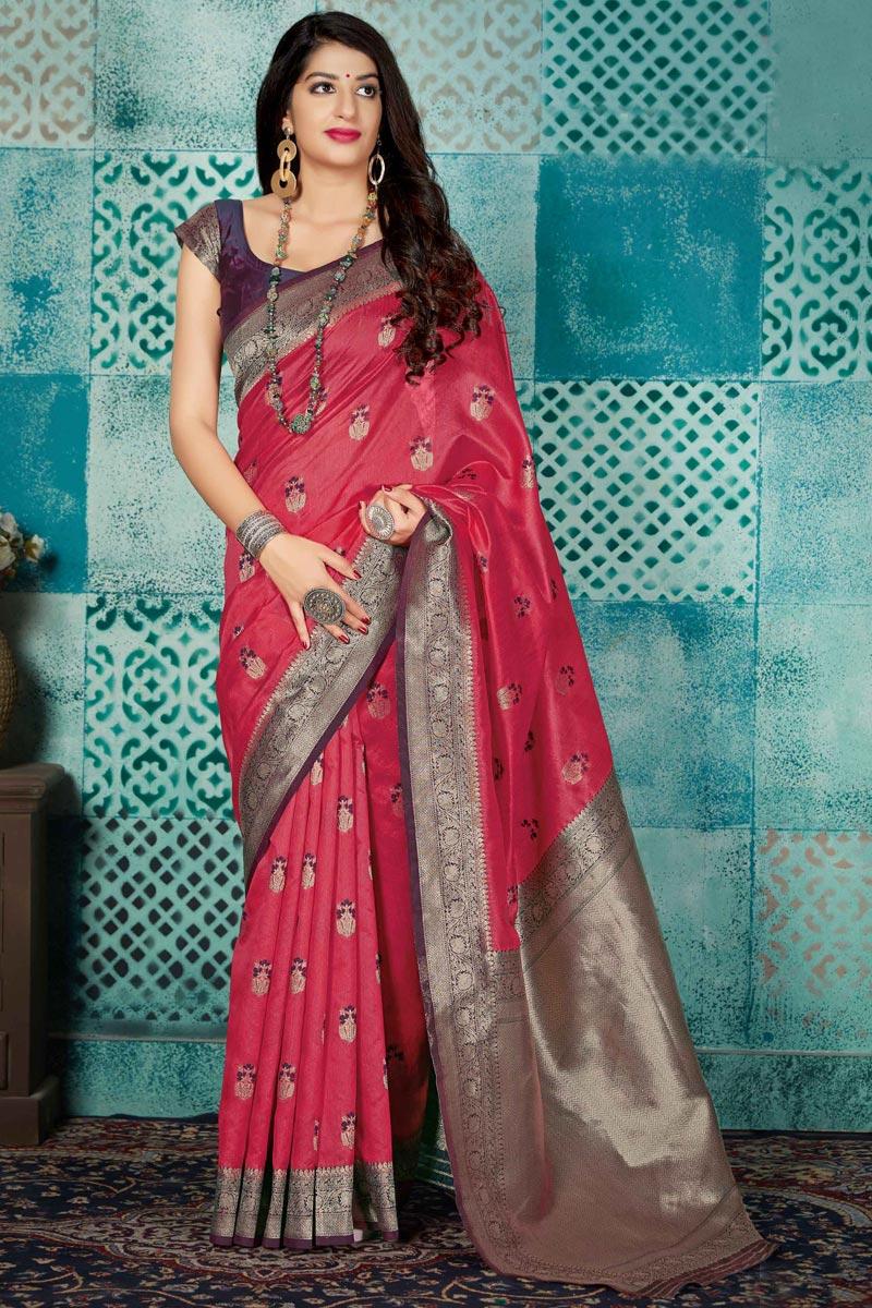 Red Fancy Art Silk Fabric Traditional Wear Weaving Work Saree