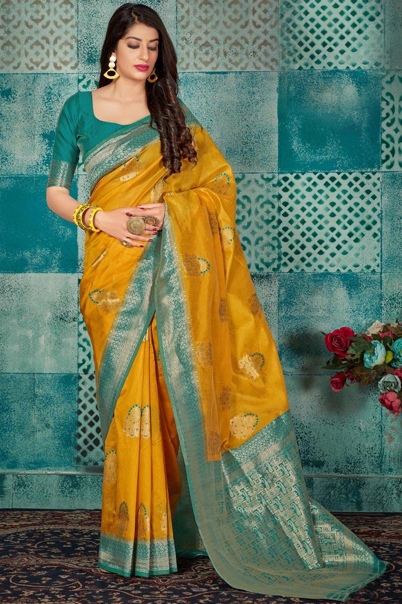 Fancy Art Silk Fabric Traditional Wear Mustard Weaving Work Saree