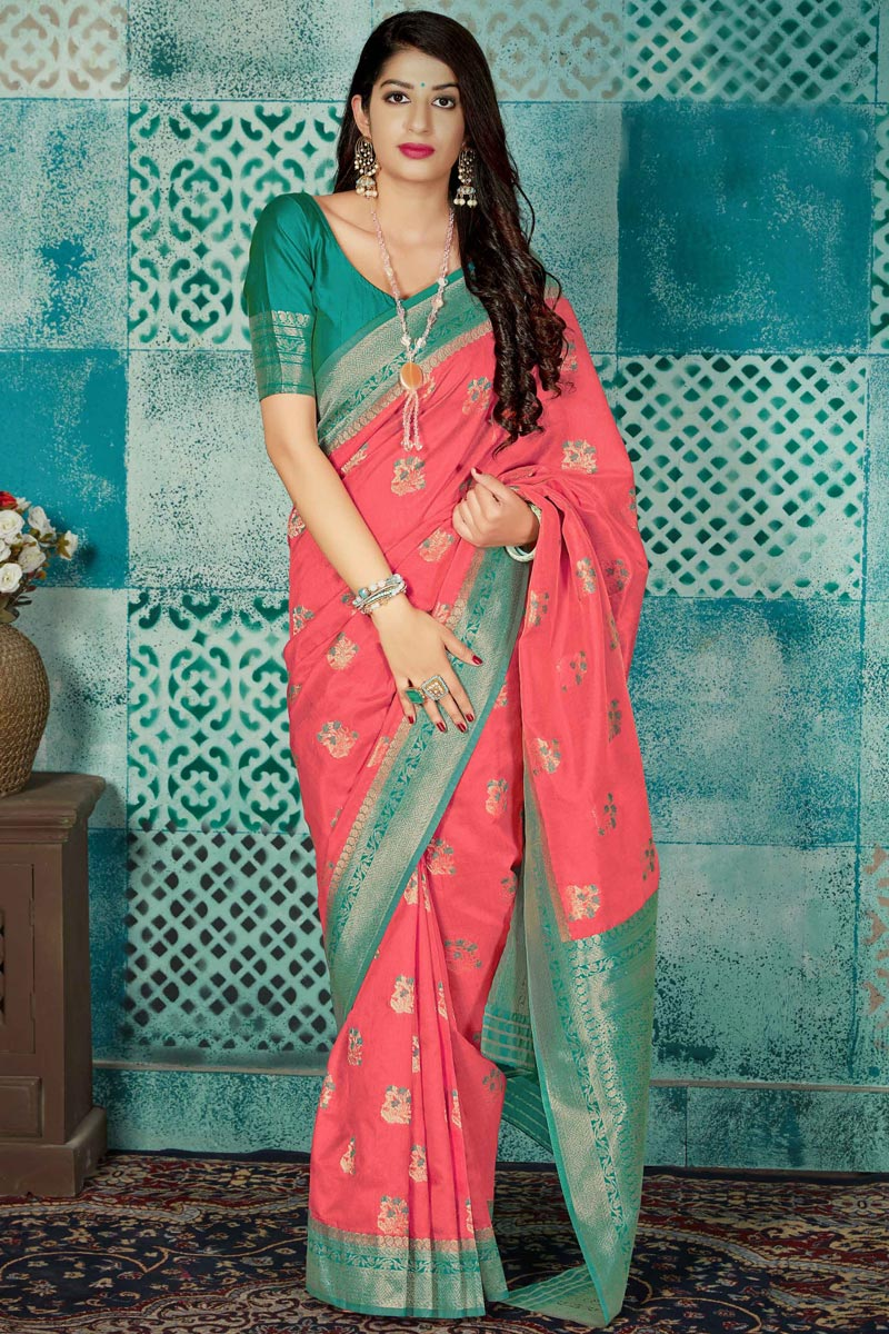 Traditional Wear Fancy Pink Weaving Work Saree In Art Silk Fabric