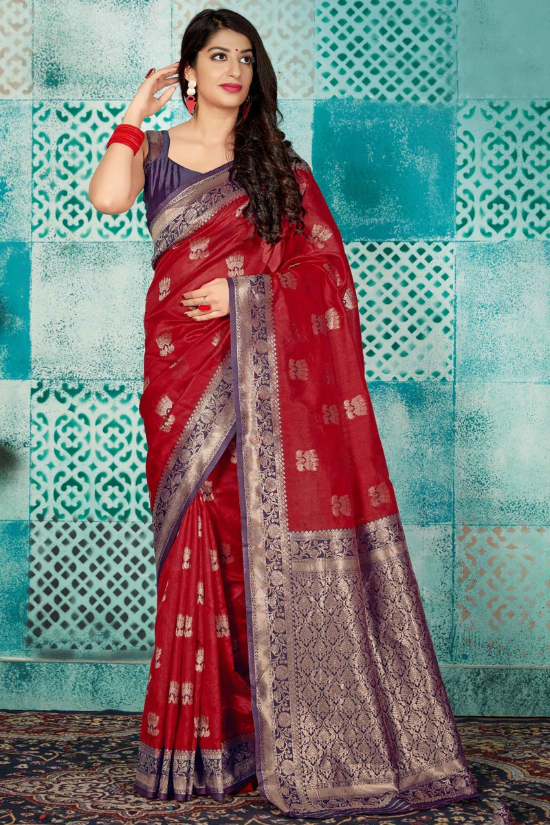 Maroon Fancy Art Silk Fabric Traditional Wear Weaving Work Saree