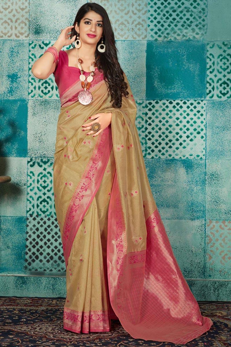 Fancy Traditional Wear Cream Art Silk Fabric Weaving Work Saree