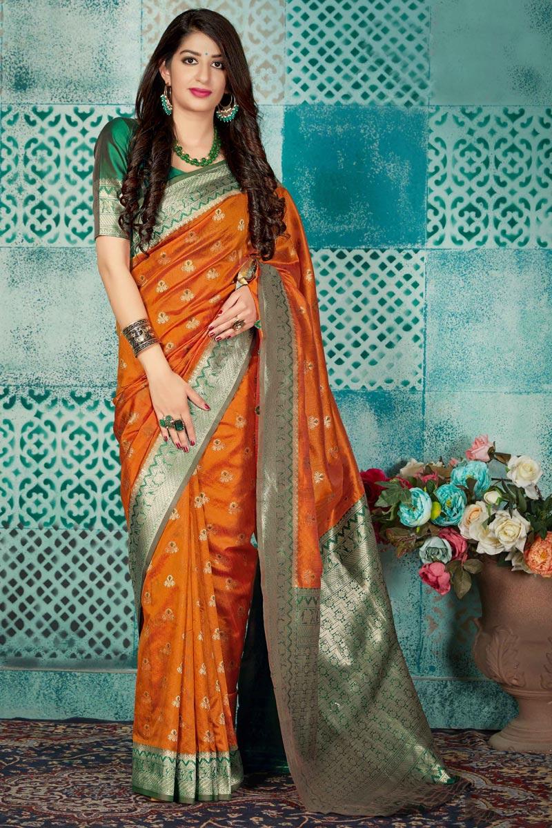 Orange Fancy Traditional Wear Art Silk Fabric Weaving Work Saree