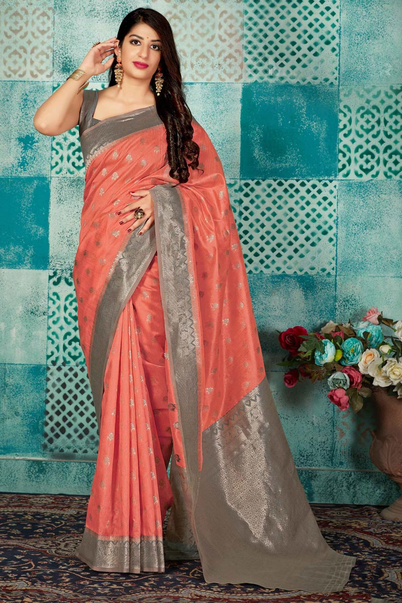 Fancy Peach Traditional Wear Art Silk Fabric Weaving Work Saree
