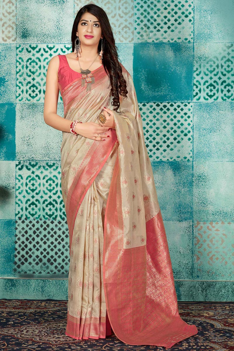 Art Silk Fabric Fancy Beige Traditional Wear Weaving Work Saree