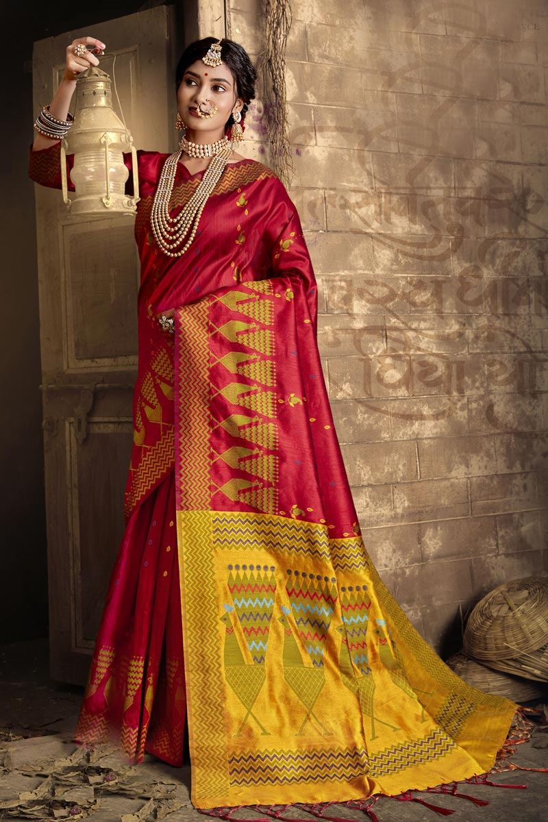 Red Color Party Style Art Silk Fabric Fancy Weaving Work Saree